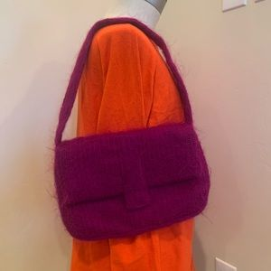 French Connection Wool/Mohair Pink Purple Purse